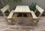 A frame picnic tables with backs
