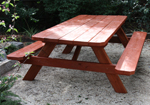 These stained treated pine A frame tables make perfect outdoor timber cafe tables in busy areas.