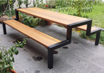 Steel and timber combination picnic tables