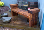 Timber bench seat with arn rests