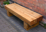 low timber tables or benches