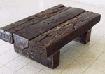 wide timber rustic coffee table