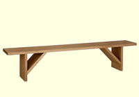 Conventional wooden trestle bench with 45 deg bracing