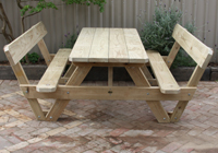 All our backed A frame picnic tables make great outdoor timber cafe tables and are priced competitively