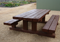 Made from a variety of sleepers, these outdoor cafe tables Melbourne bargains need a very large area