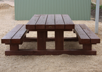 Side view of a red gum timber picnic table