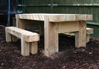Solid sleeper heavy duty park tables