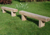 Simple sleepers used to made wooden outdoor garden furniture seats