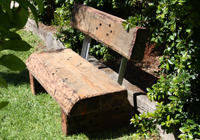 old sleepers make these park tables Melbourne seats come alive