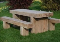 sleepers make solid park tables with side benches