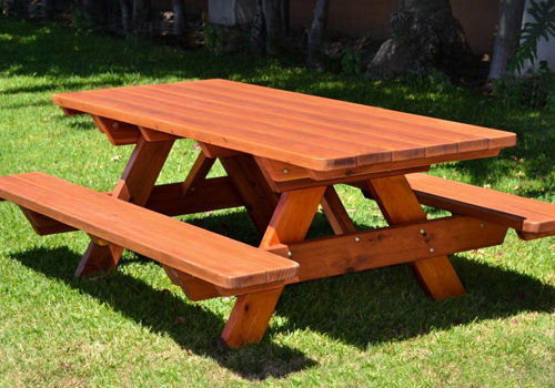 outdoor garden furniture picnic tables in dressed and oiled timber made from sleepers