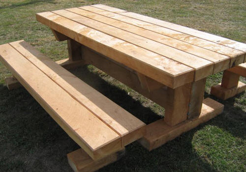 Double Benched Stand Alone T Frame Picnic Table