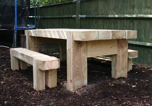 Furniture Made From Timber Sleeper For The Outdoors