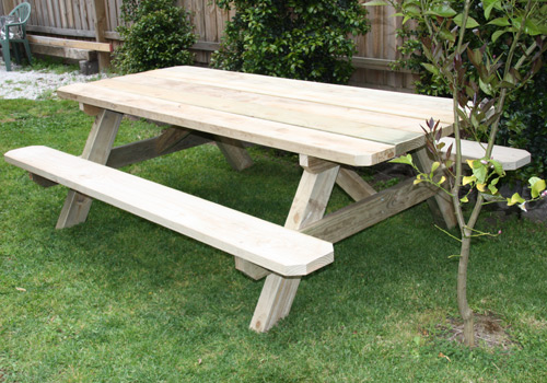 Solid Outdoor Wooden Picnic Tables