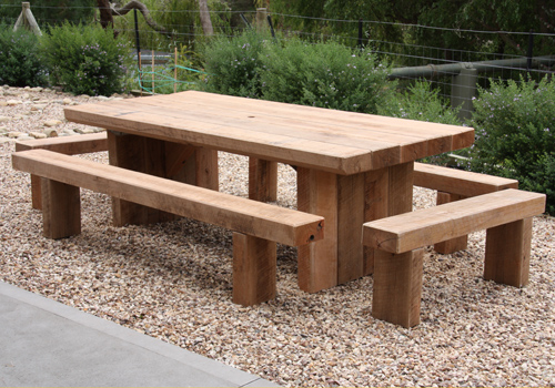 Ironbark sleeper setting with benches all round - Custom Made Furniture Manufactured In Melbourne