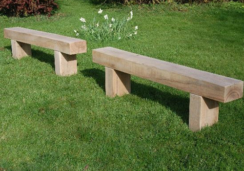 Solid Timber Sleeper Benches For Outdoors