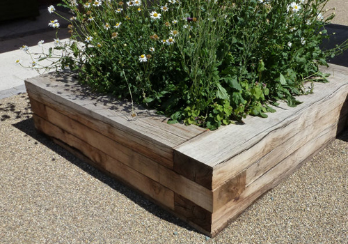 large timber sleeper planter box
