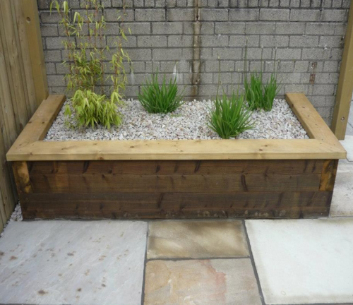 capping on a timber sleeper planter box