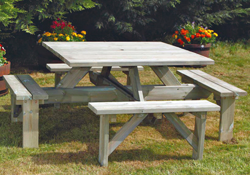 Square Hardwood And Treated Pine Picnic Tables - Square picnic table with benches